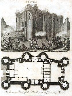 (上)1789年7月14日巴黎群眾攻陷像徵封建統治的巴士底監獄,而爆發法國大革命。(下)巴士底監獄為一座堅固的軍事要塞城堡,有八個塔樓,裝設有大炮。(網路圖片)