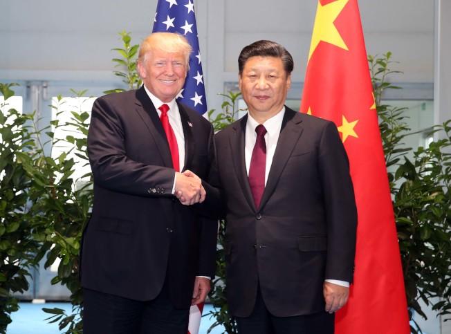 7月川普總統與中國國家主席習近平8日在二十國集團領導人漢堡峰會閉幕後會面。(新華社)
