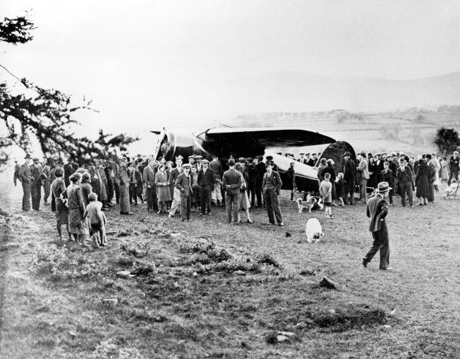 厄哈特的環球飛行,從美國出發,飛抵北愛爾蘭。(美聯社)