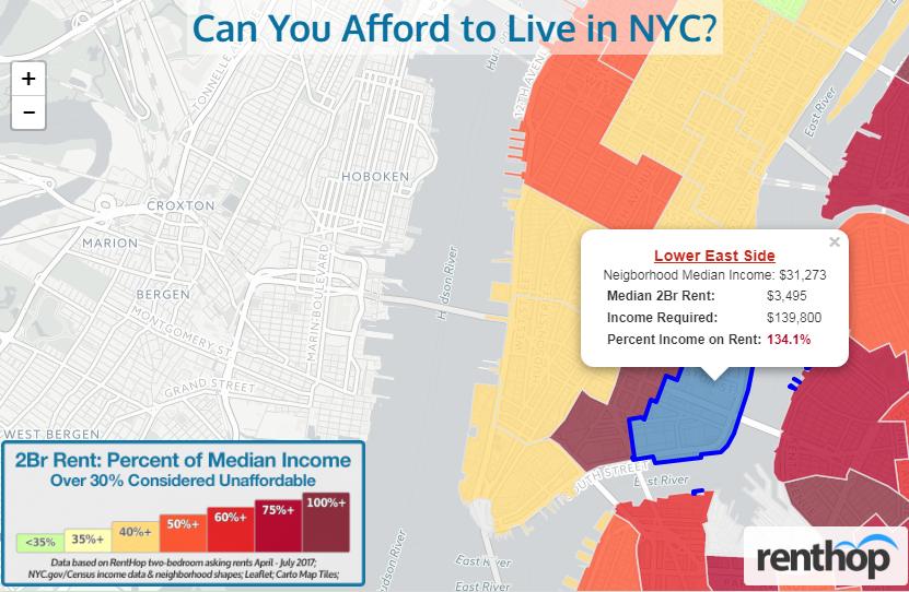 紐約市寸土寸金,華裔眾多的下東城為民眾租不起的第三大社區。(RentHop報告截圖)