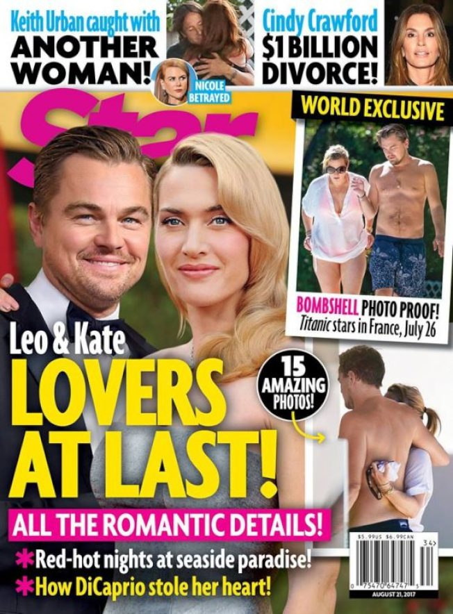 最新雜誌以封面報導,李奧納多狄卡皮歐與凱特溫絲蕾在真實生活中也擦出戀愛火花。圖/摘自starmagazine