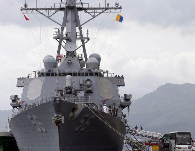 美軍驅逐艦「馬侃號」。美聯社