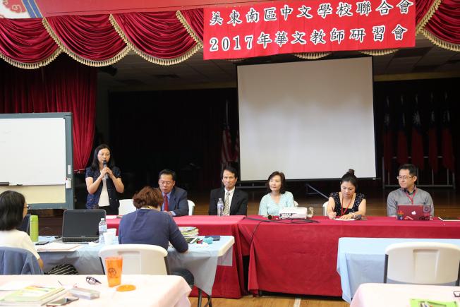 僑教中心主任傅瑾玲(左)表示僑委會重視僑教工作,未來仍會繼續舉辦教師研習會。(記者張蕙燕/攝影)