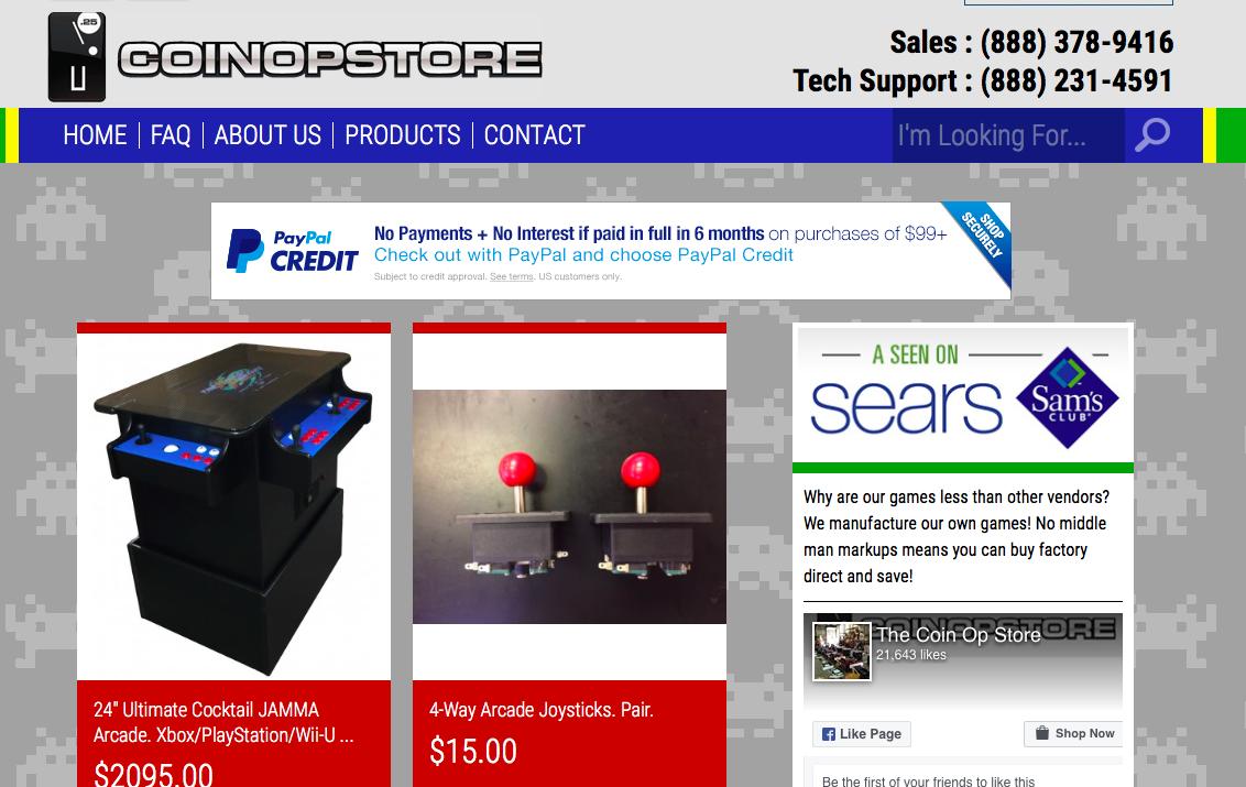 CoinOpStore自2014至今銷售大量街機遊戲機台,每台遊戲機裝載60至3000個不等經典遊戲。(圖:翻攝自CoinOpStore公司網站)