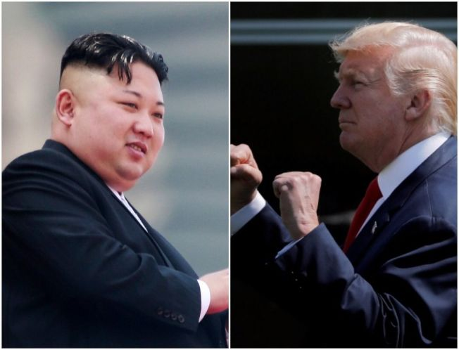 針對朝美近來緊張情勢,彭博社發表社論指出,川普(右)應管好自己嘴巴,光用口頭恫嚇難以馴服北韓領導人金正恩(左)。歐新社、路透