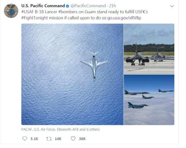 美軍太平洋司令部的推特,使用「今夜開戰」作為關鍵詞,引發許多聯想。(太平洋美軍司令部推特)