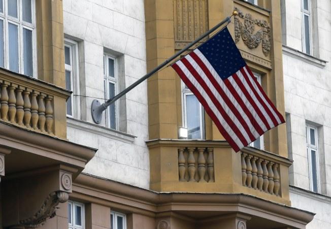 在莫斯科的美國駐俄羅斯大使館。(歐新社)