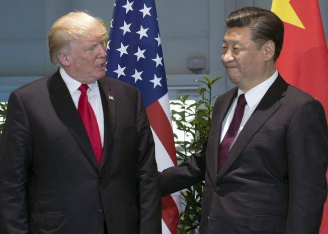 今年7月川普(左)與習近平在德國會面。(美聯社)