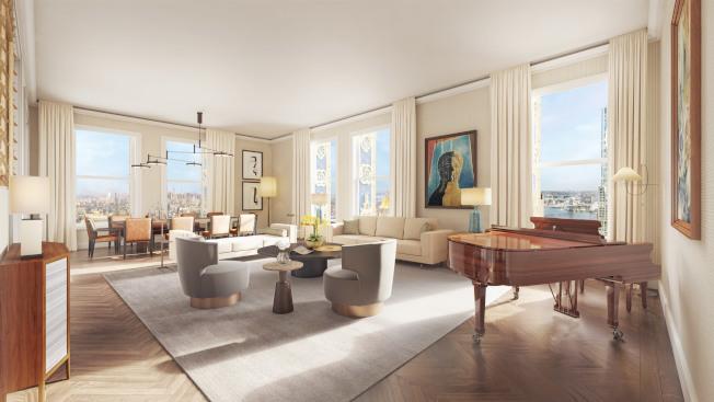 在大樓房間完美的比例上,法國設計師Thierry W. Despont讓房間兼具古典和現代之美。開闊的客廳配有挑高的天花板,配合橡木地板。(取自The Woolworth Tower Residences網站)