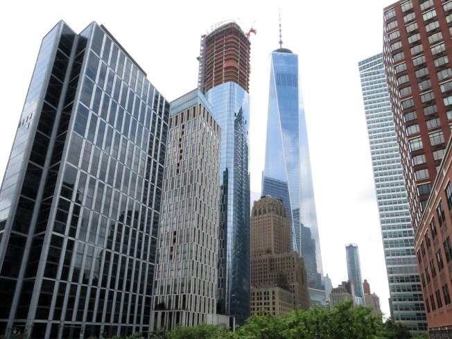 莫瑞街111號(在興建中的高樓)緊鄰世貿中心,重新勾勒曼哈頓下城天際線。(記者陳小寧/攝影)
