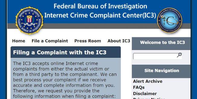 國稅局提醒,受害者應立即向網路犯罪投訴中心舉報勒贖電郵。(網頁截圖)