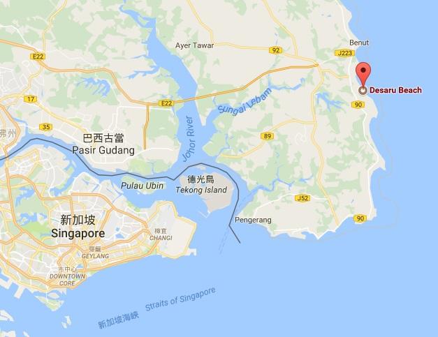 迪沙魯位於馬來半島的東南方。(截自谷歌地圖)