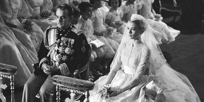 葛麗絲凱莉與摩納哥王子雷尼爾 (Prince Rainier) 於1956年的「世紀婚體」。(網路圖片)