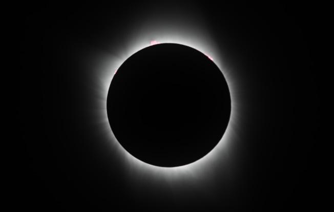 日全食過程中可看到日冕,圖為內冕。