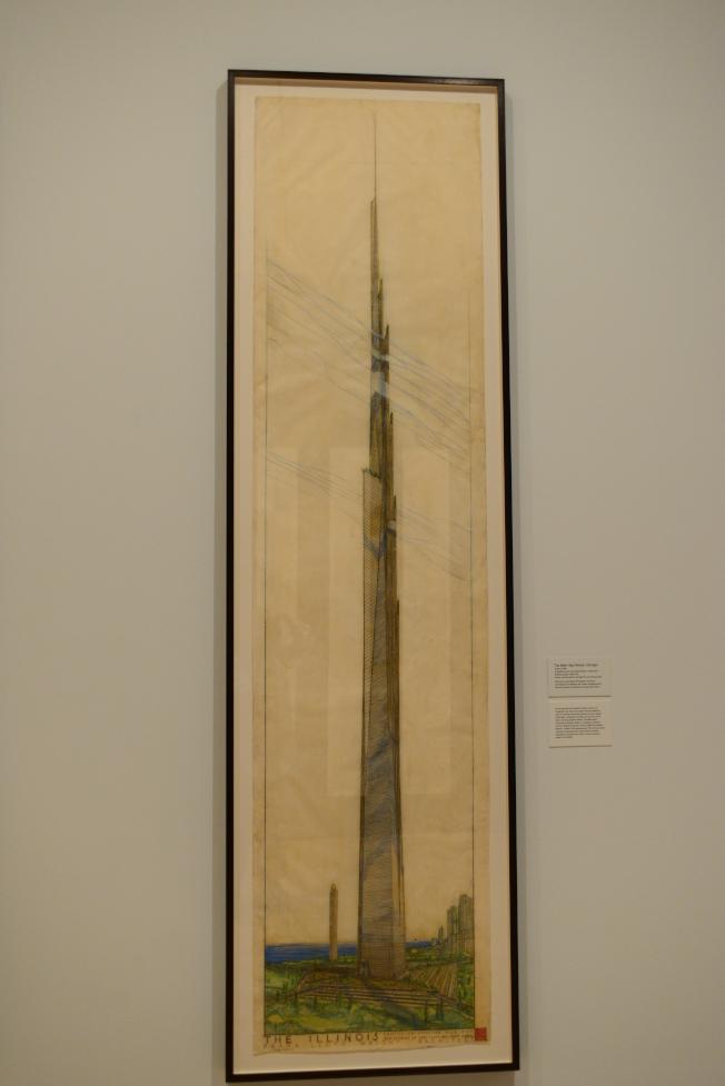 萊特的摩天大樓草圖。(記者許振輝/攝影)