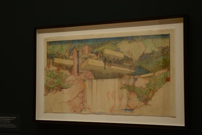 落水山莊的鉛筆畫。(記者許振輝/攝影)