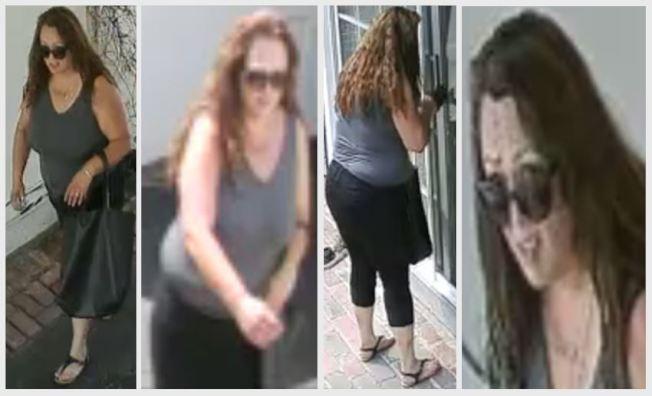 一名女盜賊日前使用敲敲門手法,在亞凱迪亞的一處民宅成功入室盜竊。(亞凱迪亞警局提供)