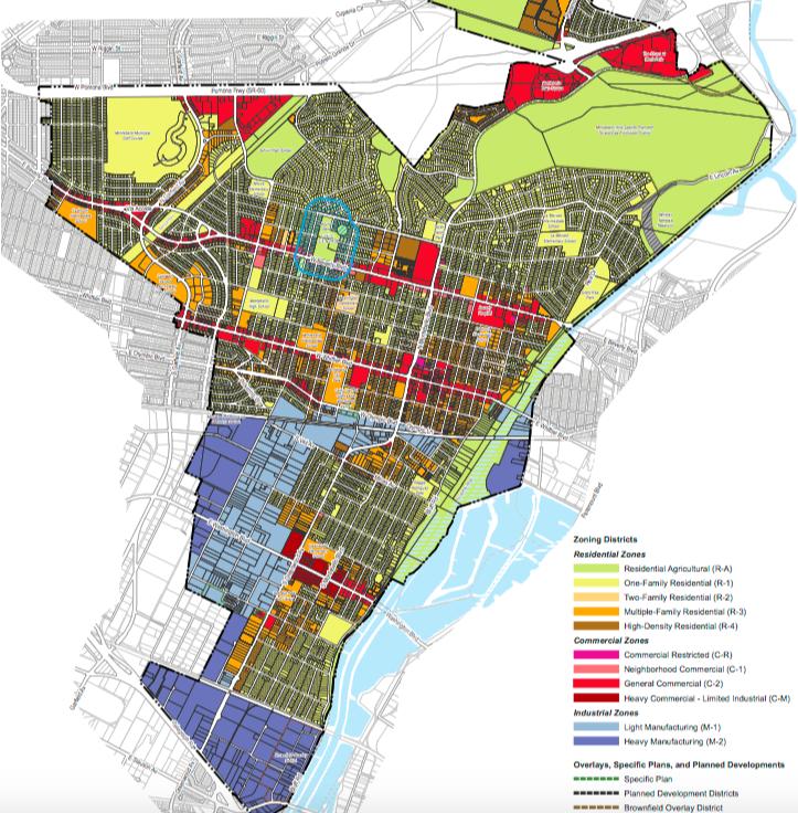 淺藍色、深藍色區域為蒙地貝婁市未來可以提供大麻種植業的工業區。(取自市府網站)