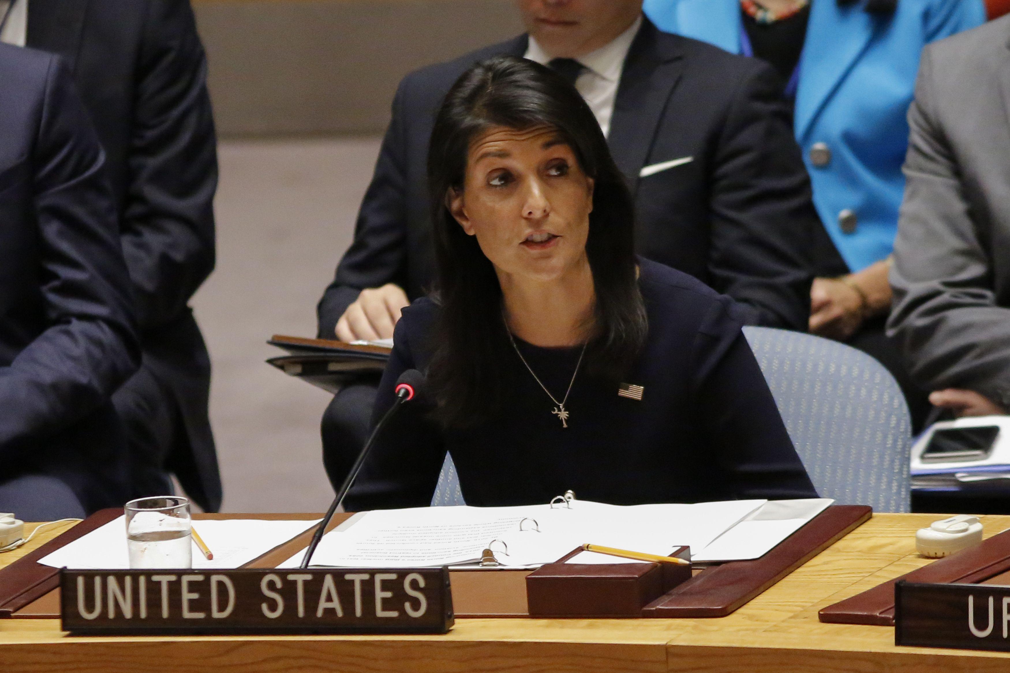 由於朝鮮半島形勢緊張,美國駐聯合國大使海理在安理會強調美方立場。(Getty Images)