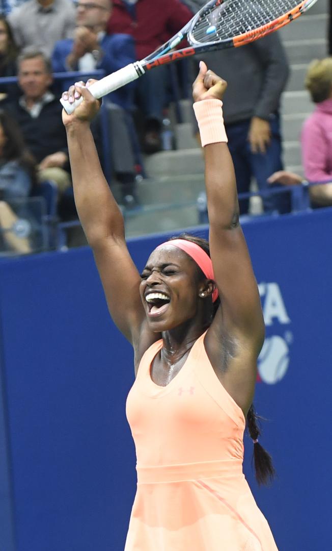 美國女將史蒂芬絲與大威力拚三盤勝出,生涯首度闖進大滿貫決賽。(記者許振輝/攝影)