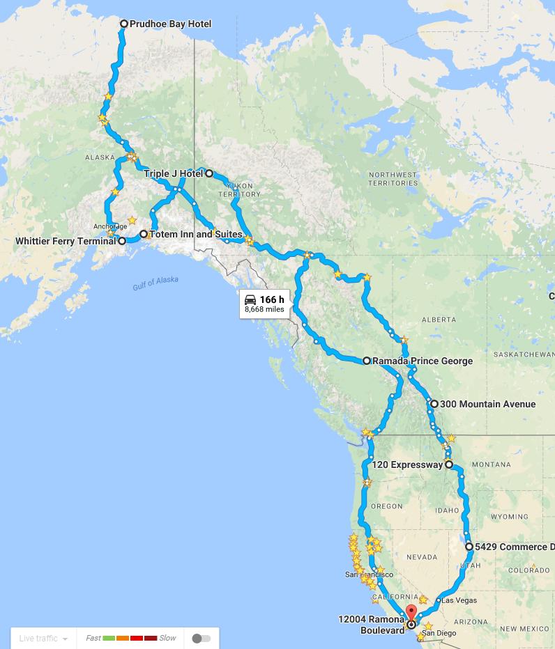范子毅和女友騎機車從南加前往阿拉斯加旅行三周路線圖。(范子毅提供)