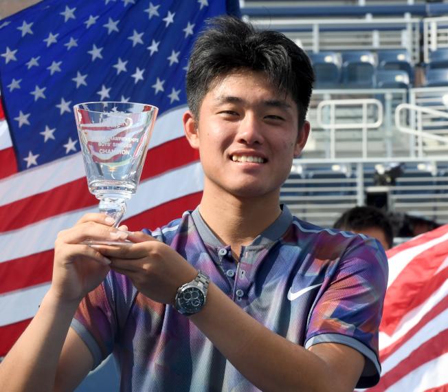 中國網球新秀吳易昺奪得美網青少年組冠軍。(記者許振輝/攝影)