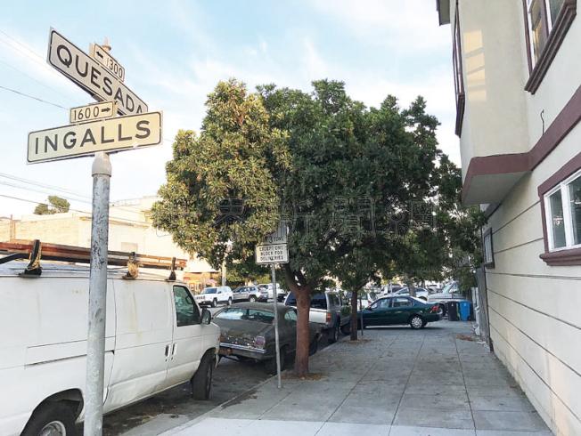 華婦被嫌犯以鎚擊頭的地點,在灣景區Quesada街近Ingalls街,居民以非裔占多數。(記者李秀蘭/攝影)