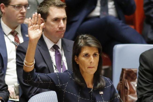 美國駐聯合國大使海凱11日舉手投票贊成新的制裁北韓案。(Getty Images)