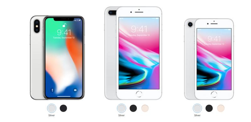 蘋果公司12日推出新款iPhon8和8Plus,十周年特別款iPhoneX手機。(蘋果網站)
