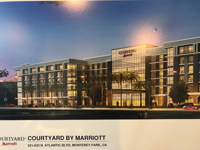 在大西洋大道的「萬豪花園(Marriott Courtyard)」酒店藍圖,目前項目已完成第一階段工程。(記者高梓原/攝影)