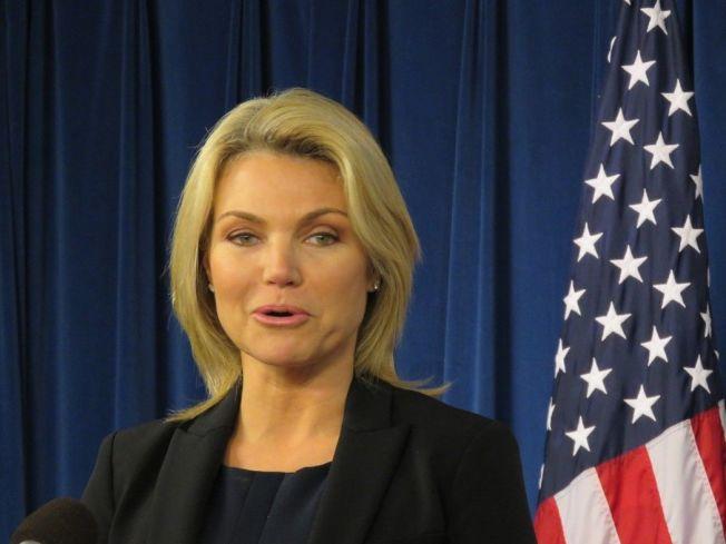 國務院發言人諾爾特13日在華府外籍記者中心表示,總統川普計畫今年秋天訪問中國大陸,川普期待此次訪問。華盛頓記者張加/攝影