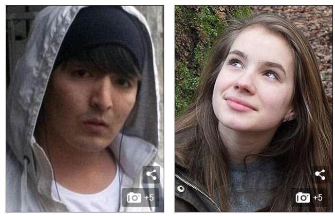 22歲的阿富汗難民侯賽因‧哈瓦里(左圖)在2016年10月涉嫌強暴和謀殺19歲的德國女學生瑪麗亞‧拉登堡(右圖)。圖擷自Daily Mail每日郵報(9/13)