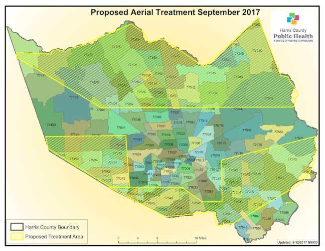 哈瑞斯縣公共衛生局將於14日傍晚進行空中藥物噴灑作業的涵蓋區域。(圖/哈瑞斯縣公共衛生局提供)