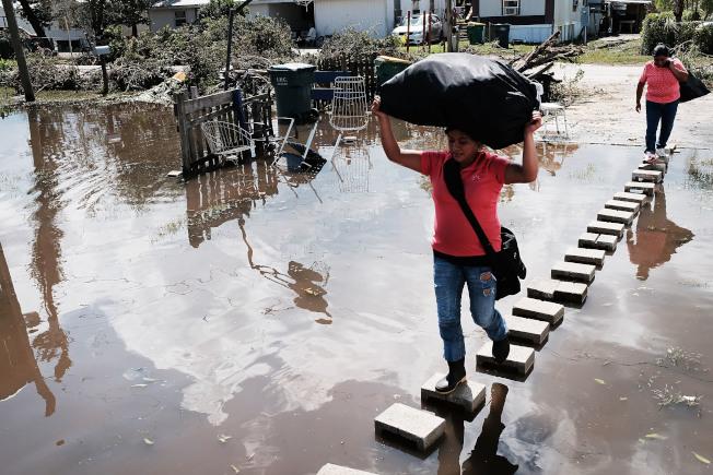 佛羅里達州的厄瑪颶風災民走在淹水的街道上。(Getty Image)