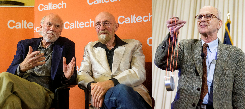 物理學獎得主由美國學者魏斯(Rainer Weiss,右)、巴利許(Barry C. Barish,左)和索恩(Kip S. Thorne,中)共享,得獎原因是首度成功觀測到重力波。三人是美國干涉重力波偵測站(Laser Interference Gravitational WaveObservatory, LIGO)的成員,去年宣布偵測到重力波,證實物理學家愛因斯坦百年前對重力波的預言。這項發現不僅證實愛因斯坦廣義相對論中對重力波的預測,也開啟宇宙探測的新窗口。 (美聯社、路透)