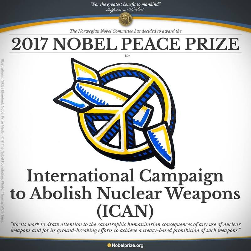 2017年諾貝爾和平獎得主6日揭曉,為非政府組織「國際廢除核武運動」(International Campaign to Abolish Nuclear Weapons,簡稱ICAN),肯定該組織對於廢除核武、化武及清除地雷的努力。國際廢除核武運動是由全球大約100個不同國家的非政府組織組成的聯盟,而聯合國122個成員國於今年7月簽署歷史性禁止核武器條約。聯合國發言人委洛奇(Alessandra Vellucci)在日內瓦表示,國際廢除核武運動榮獲諾貝爾和平獎,對禁止核武器條約最終獲批准是「好兆頭」。(圖擷自The Nobel Prize Twitter)
