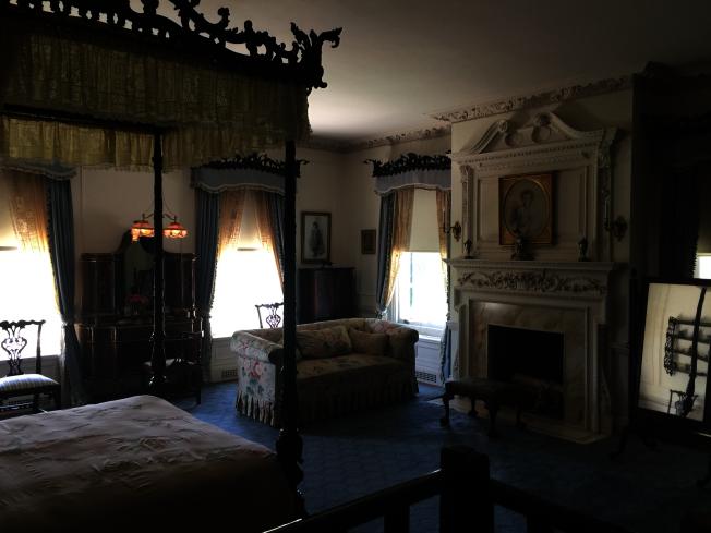 宅邸內藍色基調的臥室。