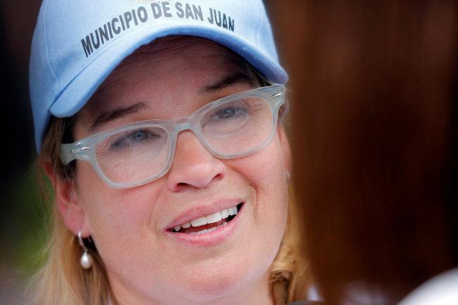 波多黎各首府聖胡安市市長克魯斯透過媒體籲請救助。(路透)