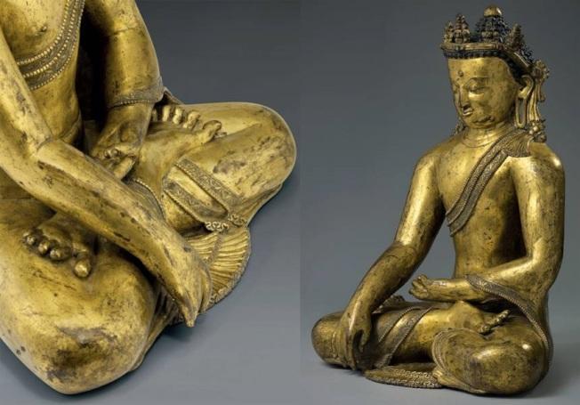 紐約佳士得13世紀鎏金銅釋迦像,估價60萬至80萬元,成交價約385萬元。(紐約佳士得提供)
