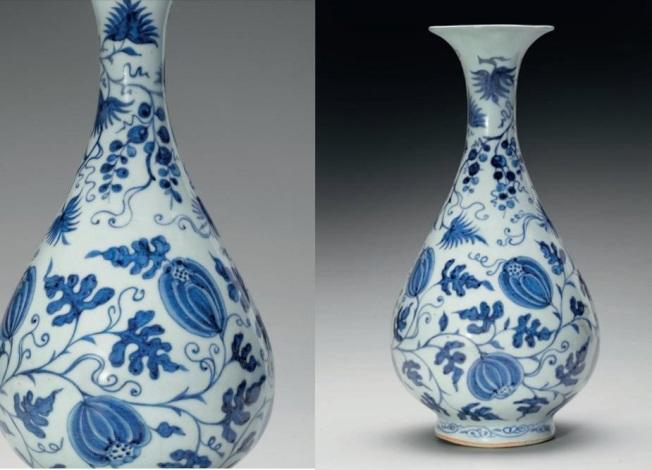 佳士得元代青花瓜籐葡萄紋玉壺春瓶,估價20萬至30萬元。(紐約佳士得提供)
