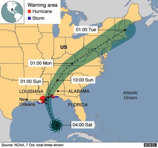 颶風「內特」(Hurrican Nate)路徑圖。