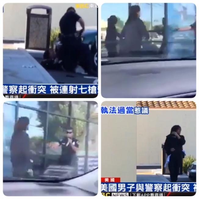 有心人將美國男子被警察擊斃的新聞視頻篡改為山東某縣長夫人被警察擊斃。(網路圖片)