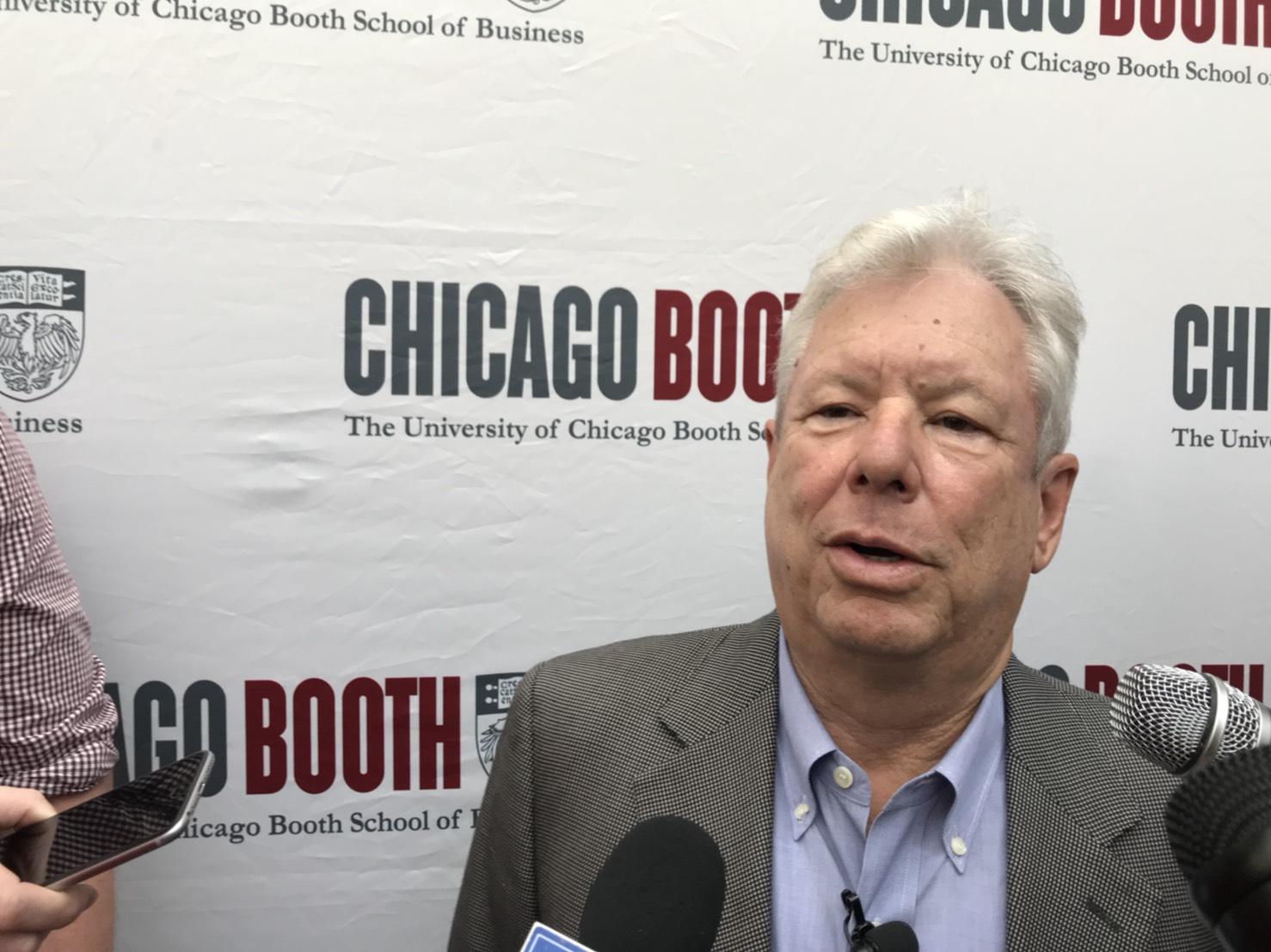 今年諾貝爾經濟學獎得主塞勒在任教的芝加哥大學布斯商學院受訪。(特派員黃惠玲/攝影)