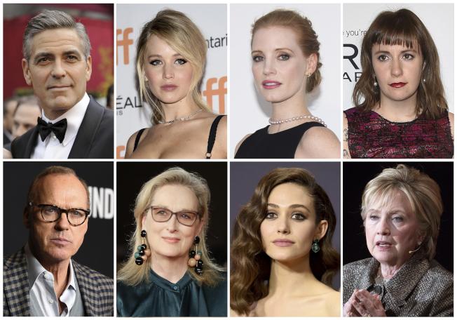 出面指責溫斯坦的重量級人士越來越多(上左起):喬治庫隆尼、珍妮佛勞倫斯、傑西卡雀絲坦、Lena Dunham;(下左起)克可基頓、梅莉史翠普、Emmy Rossum、喜萊莉.柯林頓。(美聯社)