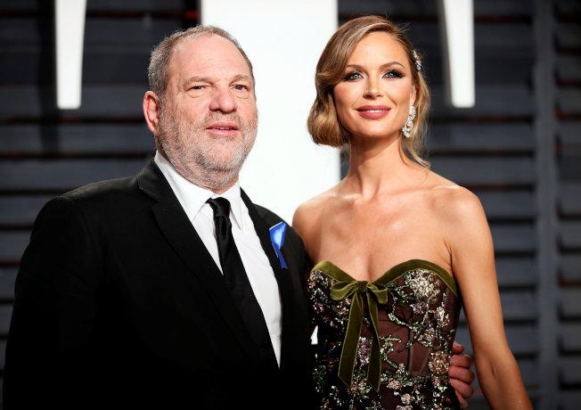 溫斯坦與英籍服裝設計師的妻子喬吉娜。(Getty Images)