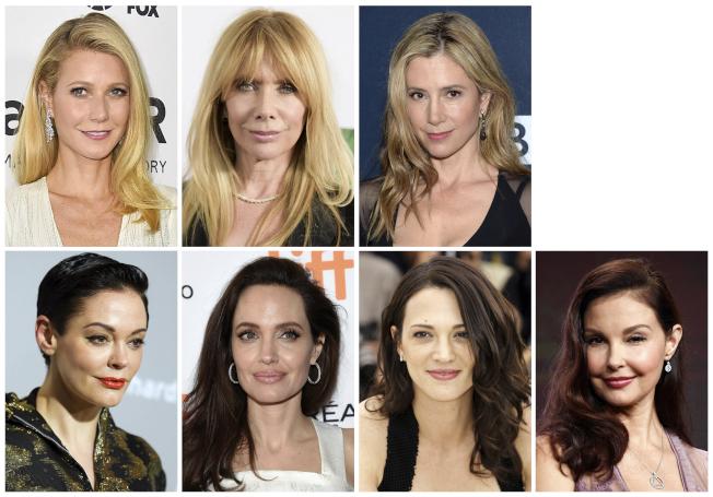 目前已經出面指控曾遭溫斯坦性侵或性騷擾的好萊塢女星。上排左起:葛妮絲派特洛Gwyneth Paltrow、Rosanna Arquette羅珊娜阿奎特、蜜拉索維諾Mira Sorvino。  下排左起:露絲麥高文、安琪莉娜裘莉、愛莎阿根托、艾希莉賈德。(美聯社)