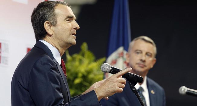 最後一次政見辯論,民主黨現任副州長諾譚(左)和對手葛里斯比火力全開,卻未提川普。(AP)