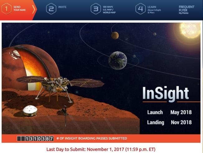 感興趣民眾若想參加火星留名活動,僅需在go.nasa.gov/InSightPass網頁註冊登記。(網站截圖)
