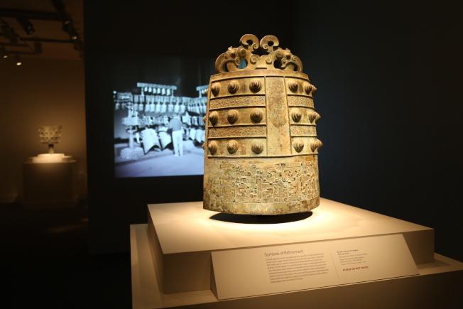 賽克勒館的編鐘展引入高科技,方便訪客與展品「互動」。(記者羅曉媛/攝影)
