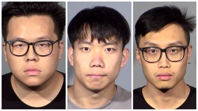 被控在賭城近郊路怒飆車引發死亡車禍的三名華人男子,左起:24歲的Nan Ying,19歲的Jincheng Sun與20歲的Zizilong Wang。(內華達州公路巡警局)